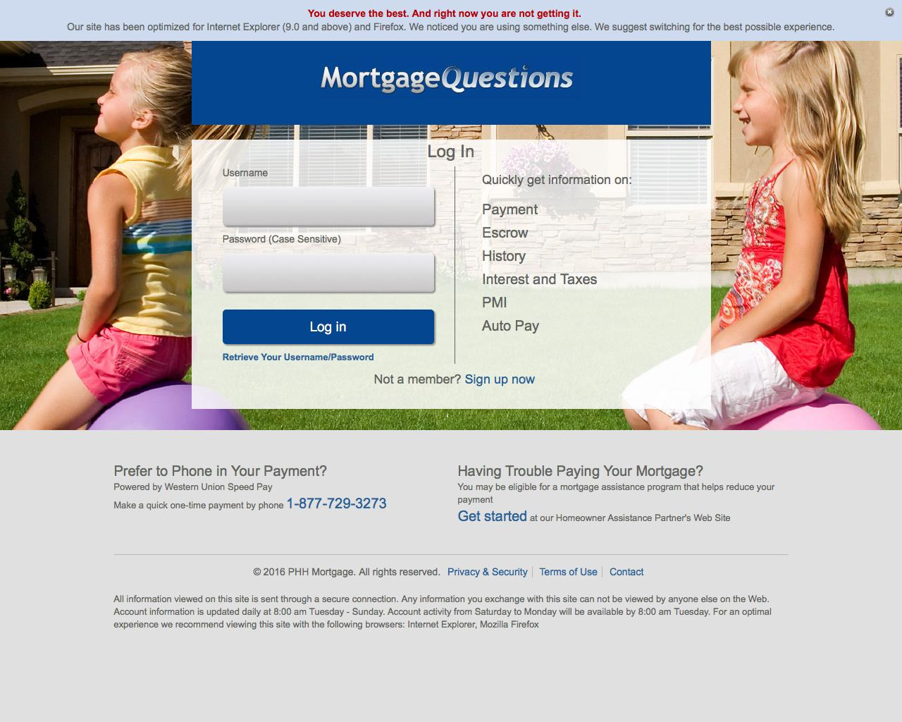Mortgagequestions Login: PHH Mortgage Bill Payment Online At www.mortgagequestions.com